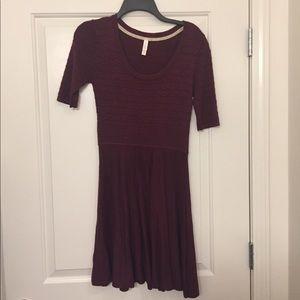 Patterned Maroon Sweater Dress